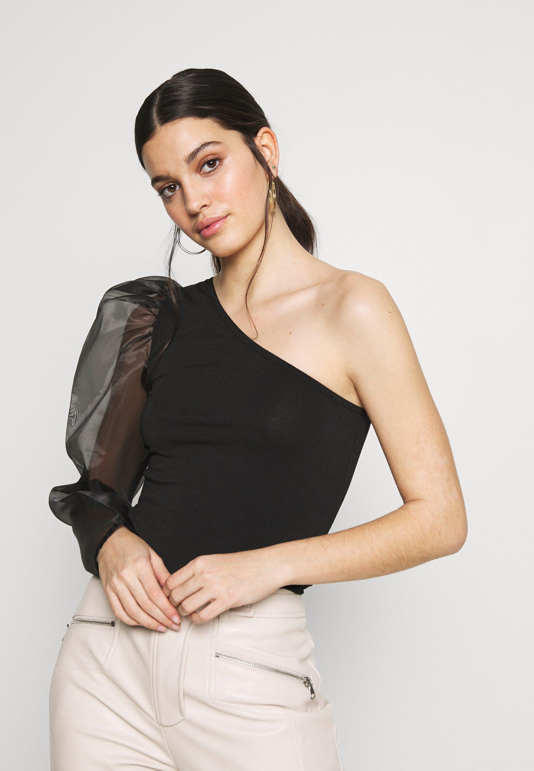 Gina Tricot ONE SHOULDER ORGANZA TOP - Bluser - black