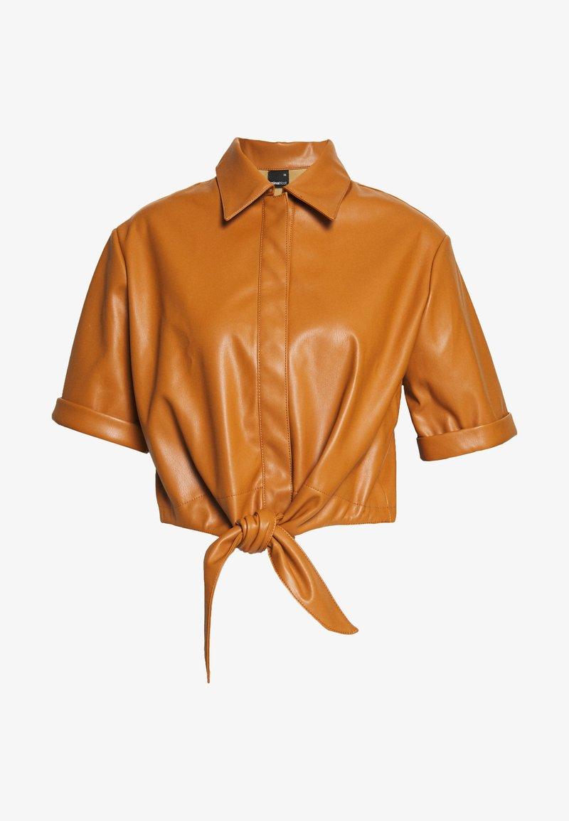 Gina Tricot - TEA TIE  - Blouse - cognac brown