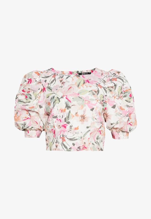 EBBA PUFF SLEEVE BLOUSE - Camicetta - offwhite/pink