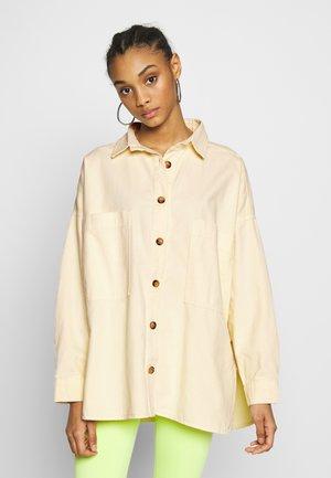 OVERSIZED DENIM SHACKET - Button-down blouse - vanilla beige