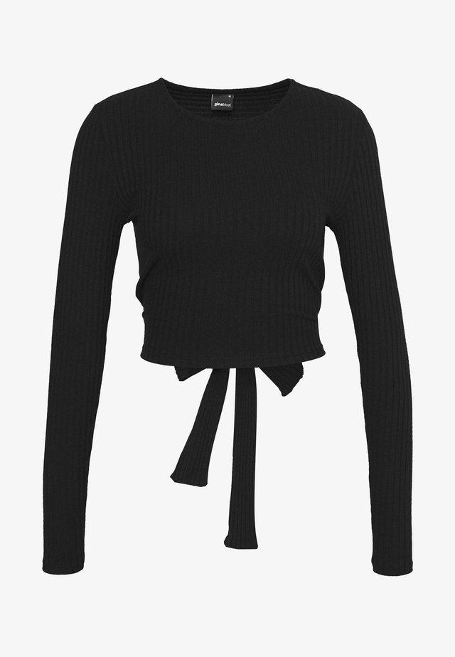 EMMY TIE BACK - Long sleeved top - black