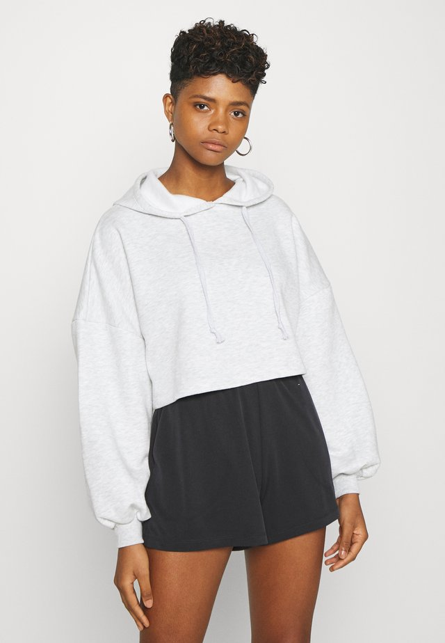 BASIC CROPPED HOOD - Luvtröja - light grey melange