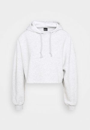 BASIC CROPPED HOOD - Mikina s kapucí - light grey melange