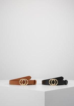 ANNA 2 PACK - Belte - black/cognac