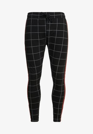 CHECKERED PANTS WITH RIBBON - Pantalones deportivos - grey