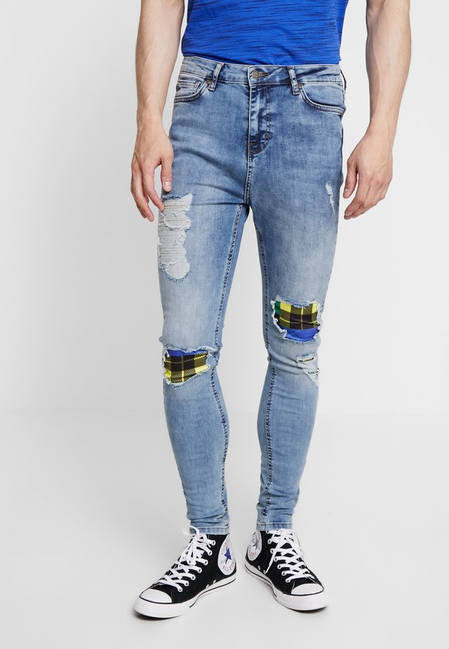 TARTAN PATCHWORK DETAIL - Jeans Skinny Fit - light blue