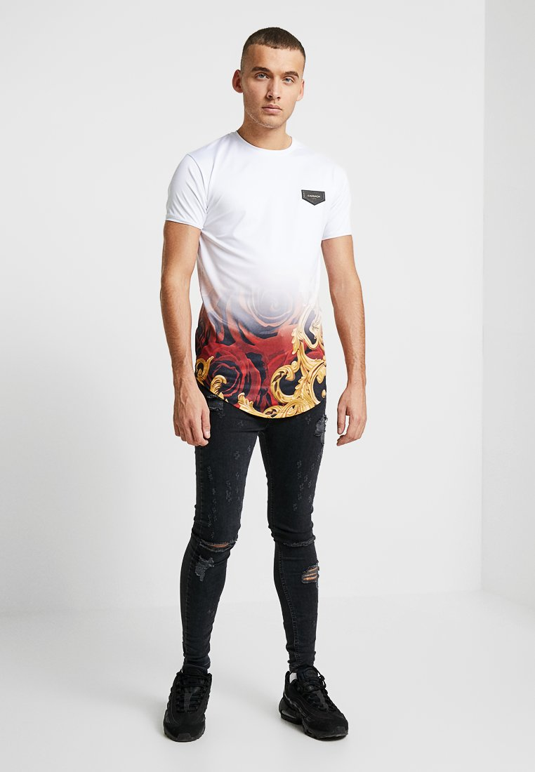 Gianni Kavanagh - FADE BAROQUE AND ROSES TEE - T-shirt imprimé - white