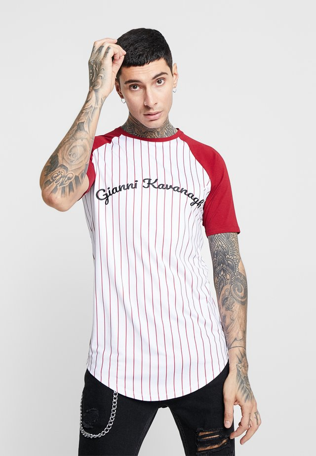 STRIPED TEE - T-shirts med print - burgundy/white