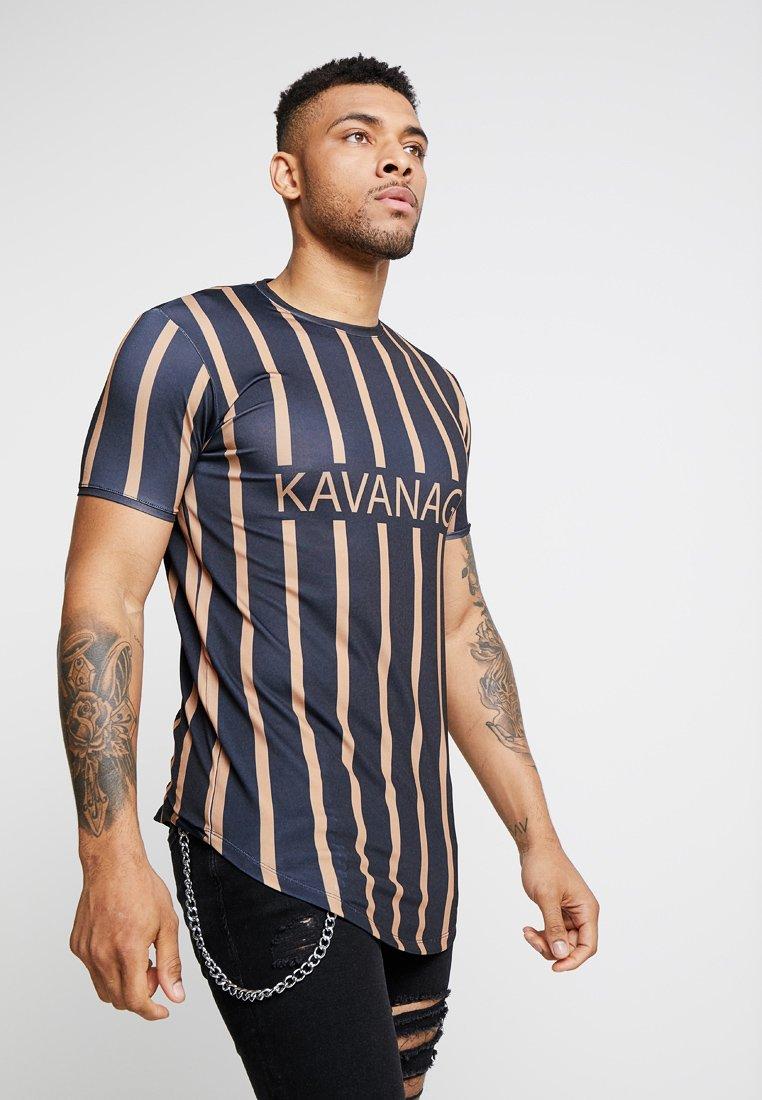 Gianni Kavanagh - STRIPPED TEAM TEE - Print T-shirt - black /gold