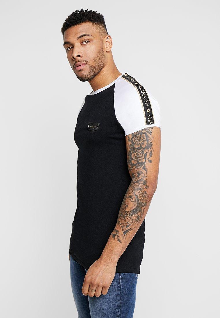 Gianni Kavanagh - CONTRAST TEE RIBBON - T-shirt imprimé - black/white