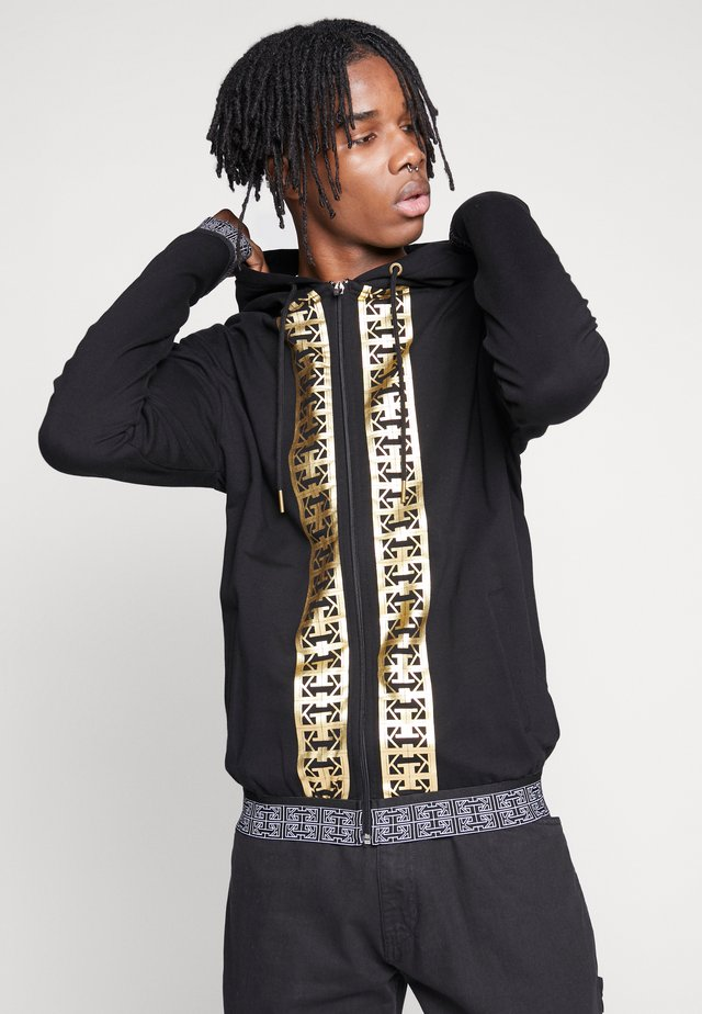 MONOGRAM HOODIE JACKET WITH GOLD PRINT - Kapuzenpullover - black