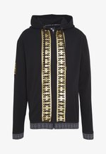 MONOGRAM HOODIE JACKET WITH GOLD PRINT - Mikina s kapucí - black