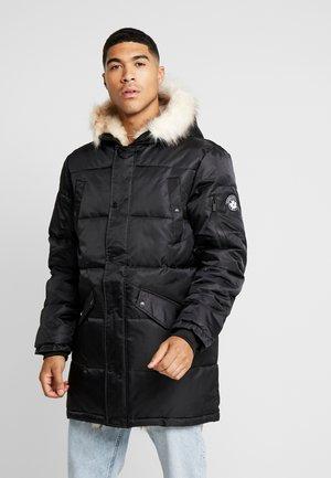 WOLF COAT WITH BEIGE FUR - Parka - black