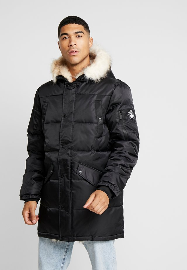 WOLF COAT WITH BEIGE FUR - Parka - black
