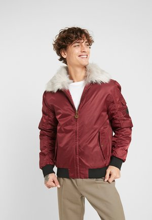 WITH FUR COLLAR - Lett jakke - burgundy
