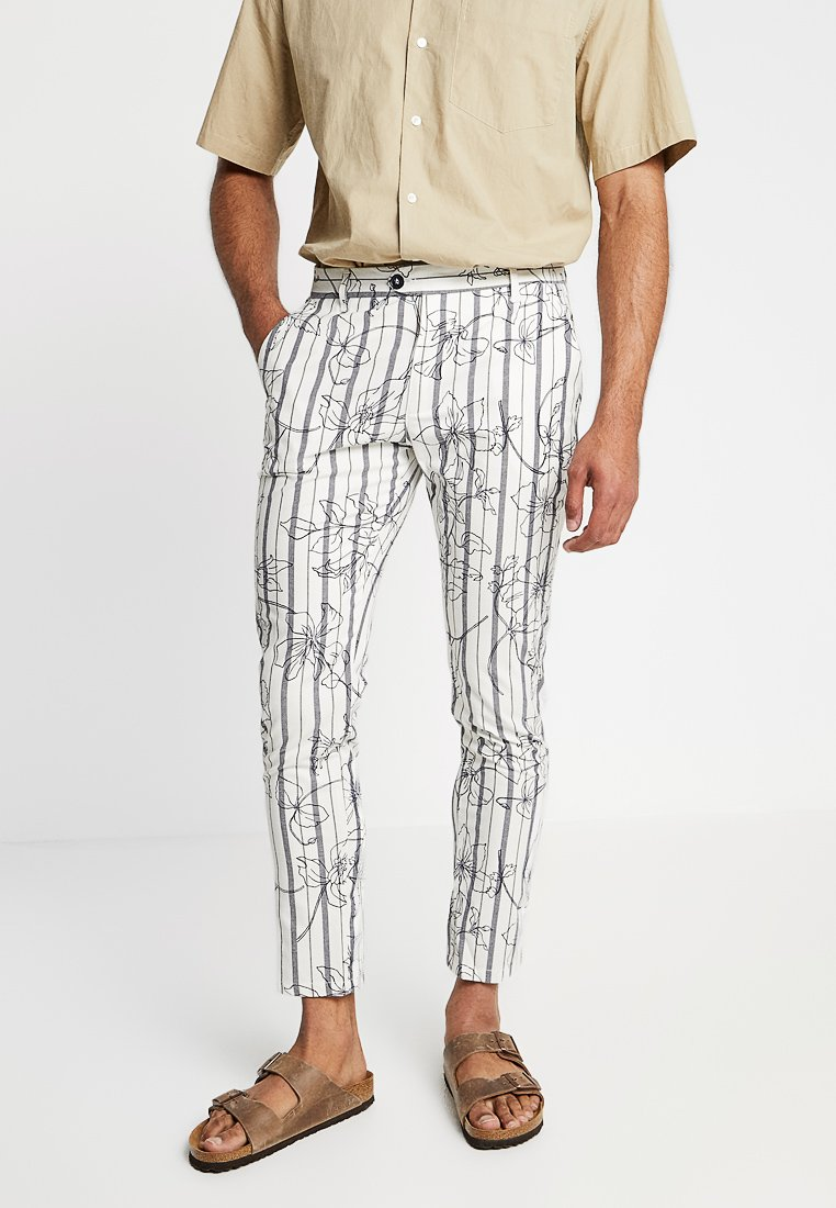 Gianni Lupo - STRIPED TROUSER - Trousers - white