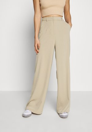 WIDE LEG TROUSERS WITH POCKETS - Pantalon classique - stone