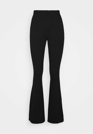 JERSEY RIB FLARE - Trousers - black