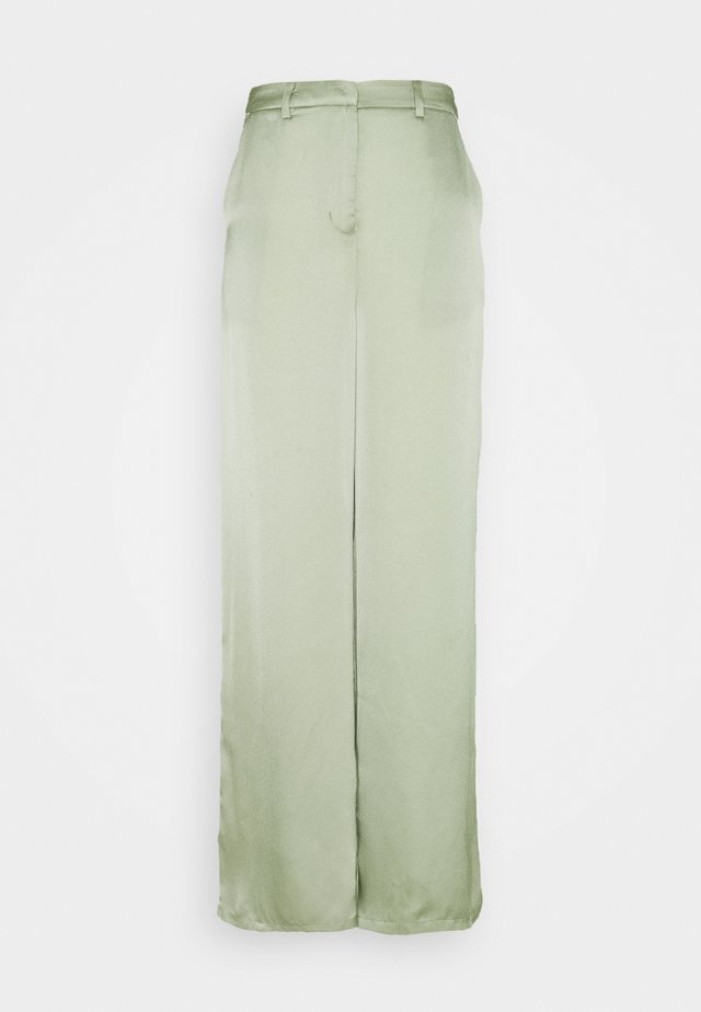 WIDE LEG TROUSERS WITH POCKET DETAIL - Trousers - sage