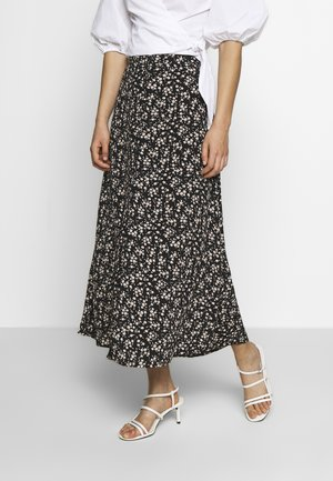 SPLIT FRONT MIDI SKIRT - A-line skirt - black