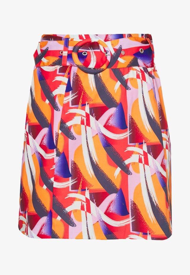 FLORAL PRINTED MINI SKIRT WITH BELT - Spódnica trapezowa - multi-coloured