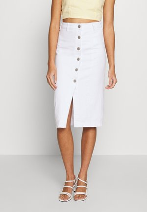 BUTTON DETAIL MIDI SKIRT - Jeansskjørt - off white