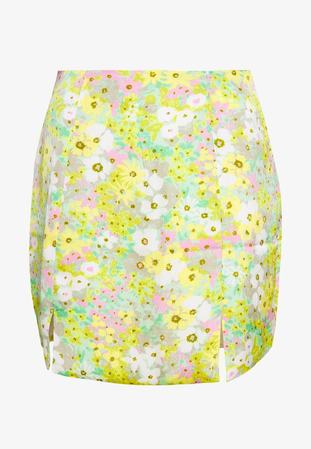 SPLIT FRONT  - Mini skirts  - green pink floral