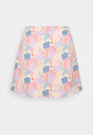 CARE FLORAL PRINTED MINI SKIRT - Spódnica trapezowa - light pink