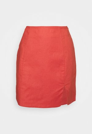 HIGH WAISTED SKIRT - Gonna a campana - orange rust
