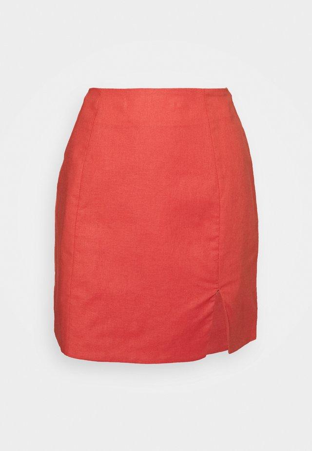 HIGH WAISTED SKIRT - Spódnica trapezowa - orange rust
