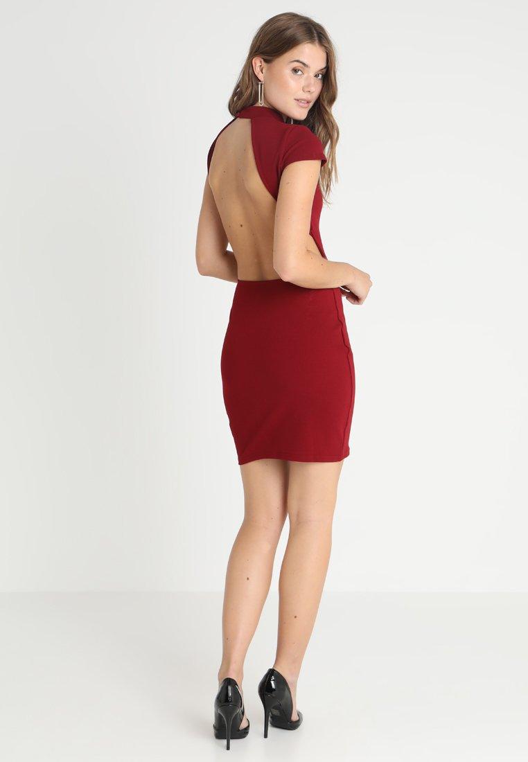 Glamorous - SHORT SLEEVE DRESS - Pouzdrové šaty - burgundy