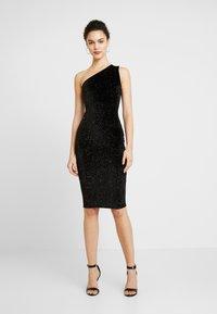Glamorous - ONE SHOULDER GLITTER DRESS - Cocktailkjole - black - 0