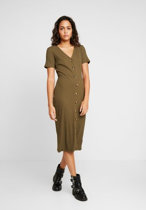 BUTTON DOWN MIDI - Vestido de tubo - khaki