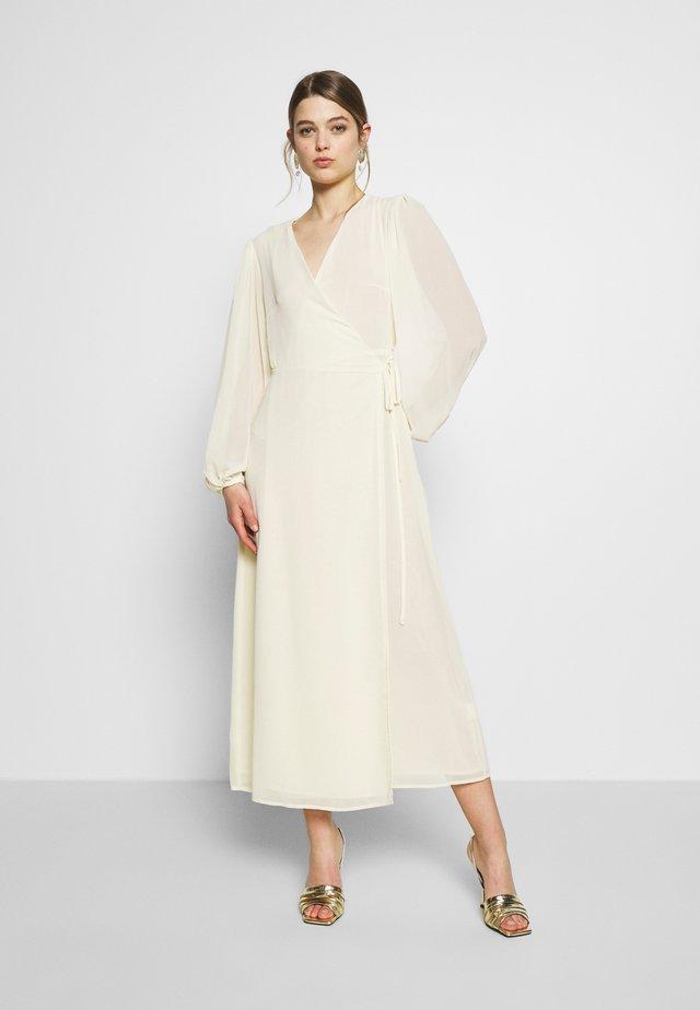 FLORAL LONG SLEEVE WRAP DRESS - Maksimekko - pale yellow