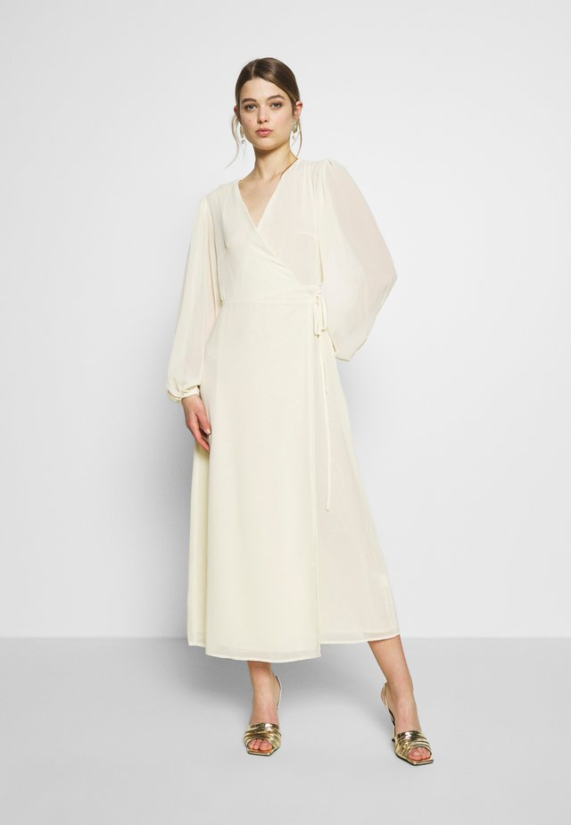 FLORAL LONG SLEEVE WRAP DRESS - Długa sukienka - pale yellow