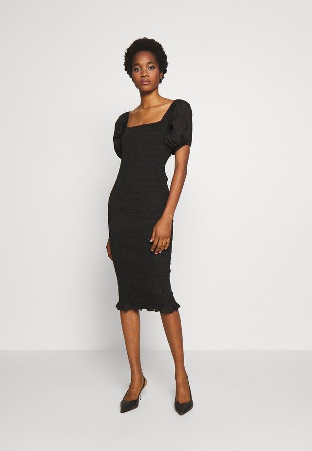 SHIRRED BARDOT MIDI DRESS - Shift dress - black