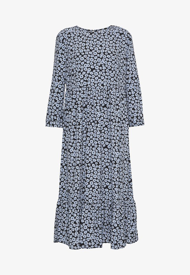 MIDI TIER FLORAL DRESS - Day dress - dusty blue