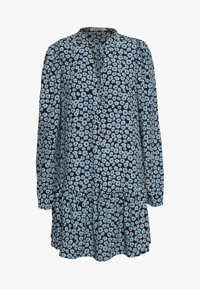 MINI V NECK TIER FLORAL DRESS - Korte jurk - dusty blue mini