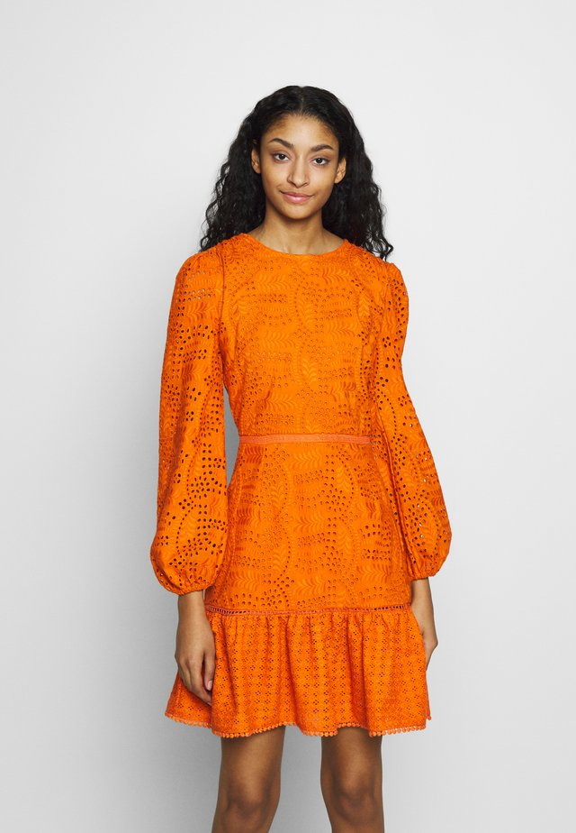 BRODERIE ANGLAIS LONG SLEEVE DRESS - Day dress - bright orange