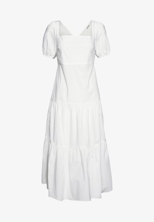 SHORT SLEEVE TIERED DRESS - Długa sukienka - white