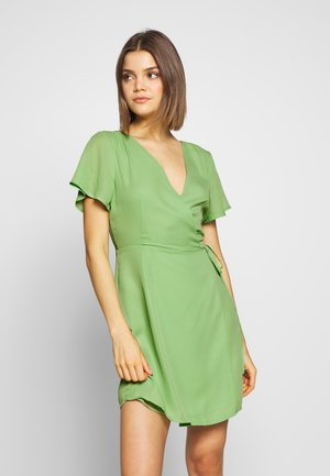 RUFFLE SLEEVE WRAP DRESS - Denní šaty - green