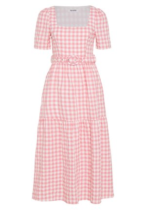 SHORT SLEEVE GINGHAM MAXI DRESS - Długa sukienka - pink