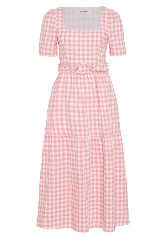 SHORT SLEEVE GINGHAM MAXI DRESS - Maxikjoler - pink