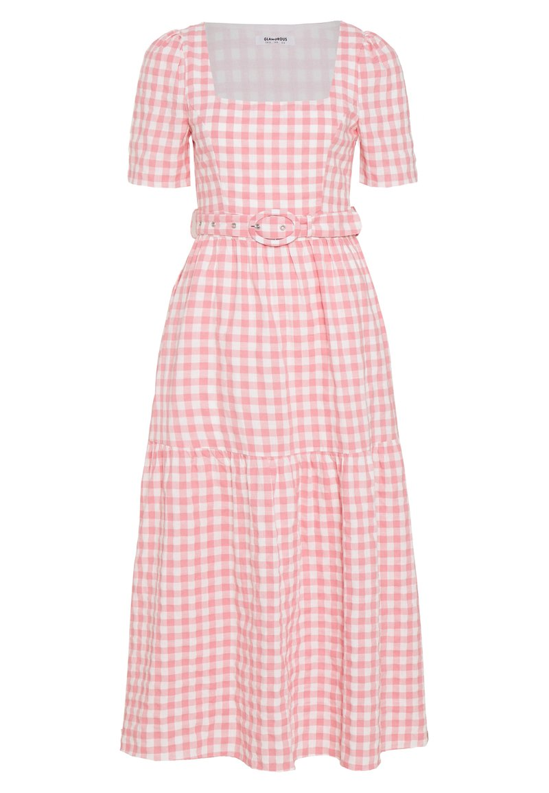 Glamorous - SHORT SLEEVE GINGHAM MAXI DRESS - Maksimekko - pink
