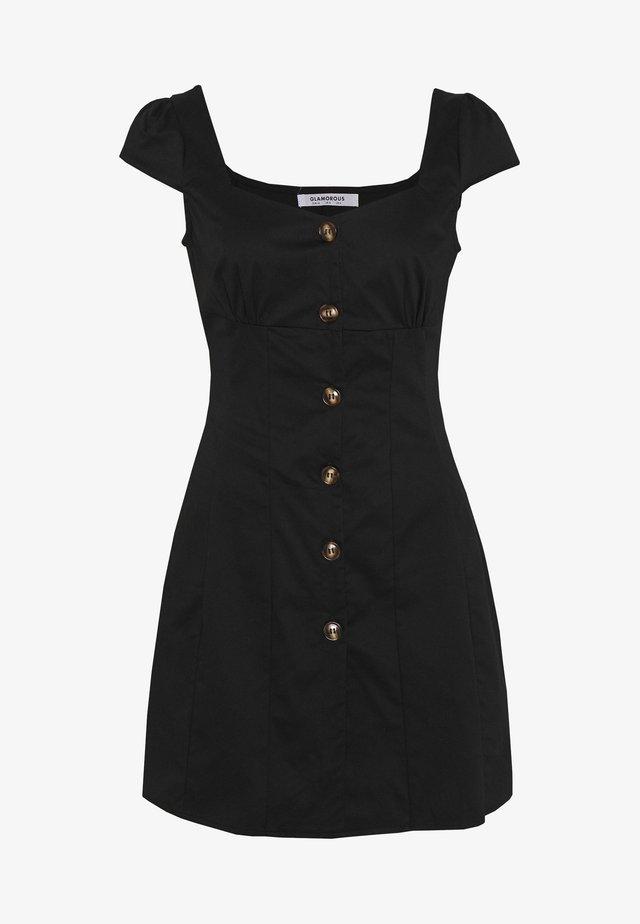 CAP SLEEVE MINI DRESS WITH BUTTON DETAIL - Vapaa-ajan mekko - black