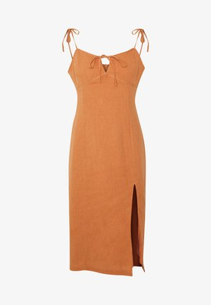 MIDI CAMI DRESS WITH TIE - Kjole - apricot
