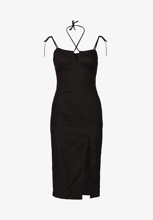 MIDI CAMI DRESS WITH TIE - Korte jurk - black