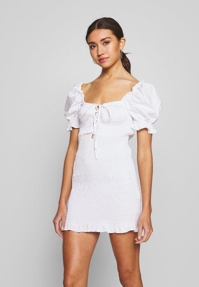 PUFF SLEEVE DRESS - Korte jurk - white