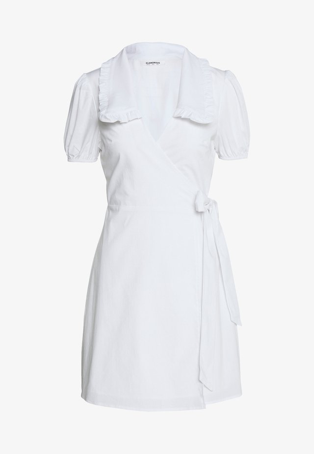 DRESS WITH RUFFLE COLLAR - Korte jurk - white