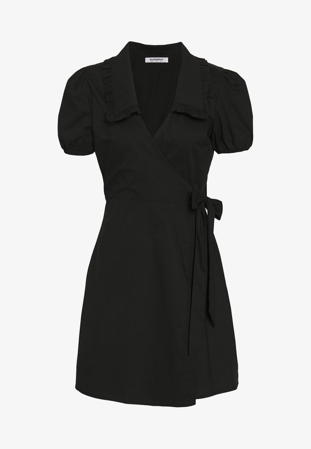 DRESS WITH RUFFLE COLLAR - Korte jurk - black